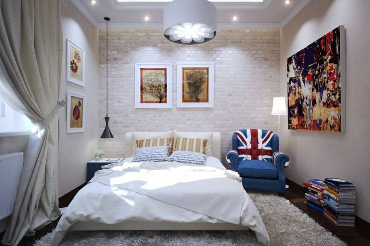 Modern Small Bedroom union jack chair