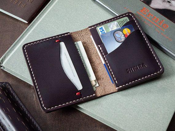 Horween Chromexcel No8 cuero Horizontal Bifold Wallet por SHKIRA