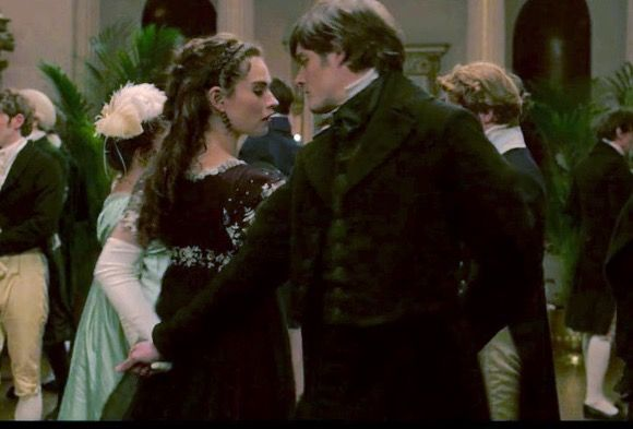 Dance in Netherfield Park. Sam Riley and Lily James as Mr. Darcy and Elizabeth