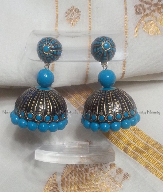 Turquoise Peacock Set-terracotta jewelry-color options by NIRMITY