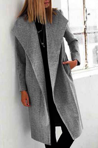 Stylish Solid Color Pocket Design Long Sleeve Coat For Women