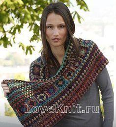 Схема крючком шарф хомут в этническом стиле