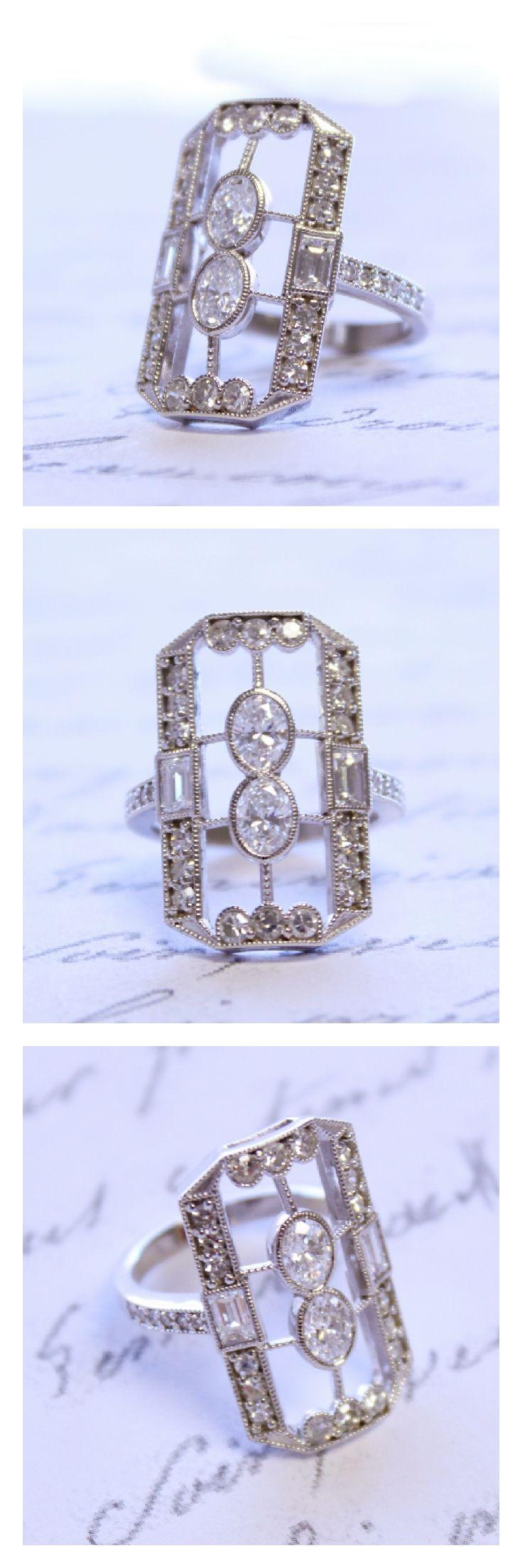 14K White Gold Diamond Vintage-Inspired Ring - 1.71 carats of diamonds in an Art Deco inspired Custom setting