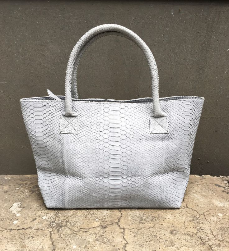 TOTE BAG - Soft Grey Tote Bag Python Snakeskin Leather by linmade on Etsy https://www.etsy.com/listing/398377069/tote-bag-soft-grey-tote-bag-python