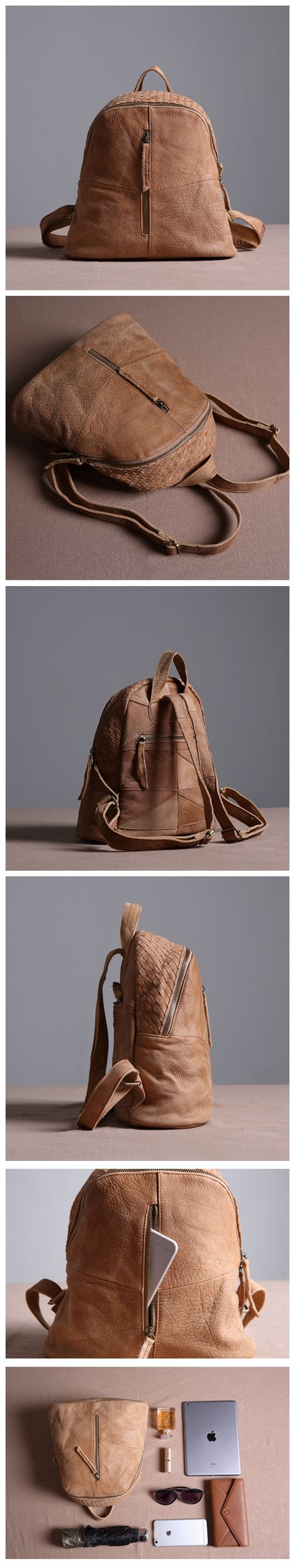 Genuine Leather School Backpack Casual Rucksack Travel Backpack Daily Bag 14087 -------------------------------- Overview: Design: Vintage Vegetable Tanned Leather Backpack In Stock: 4-5 days For Maki