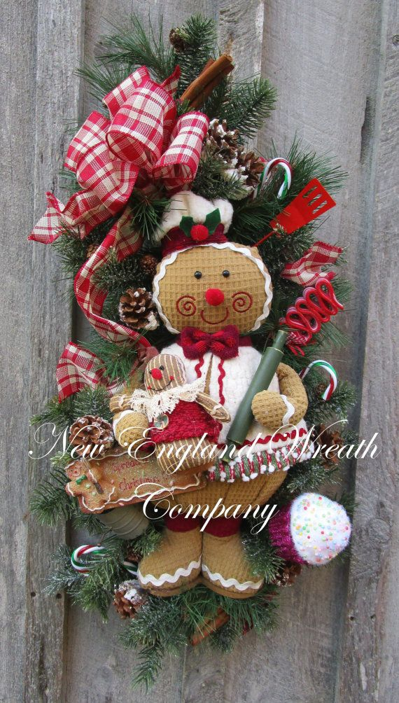 Christmas Wreath, Gingerbread Men, Holiday Wreath, Christmas Swag, Designer, Whimsical Christmas
