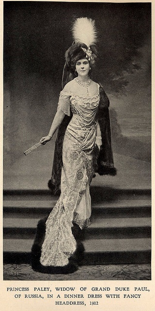 "1912 Princess Paley in House of Worth gown.  From the book ""A Century of Fashion"" by Jean-Philippe Worth, 1928"