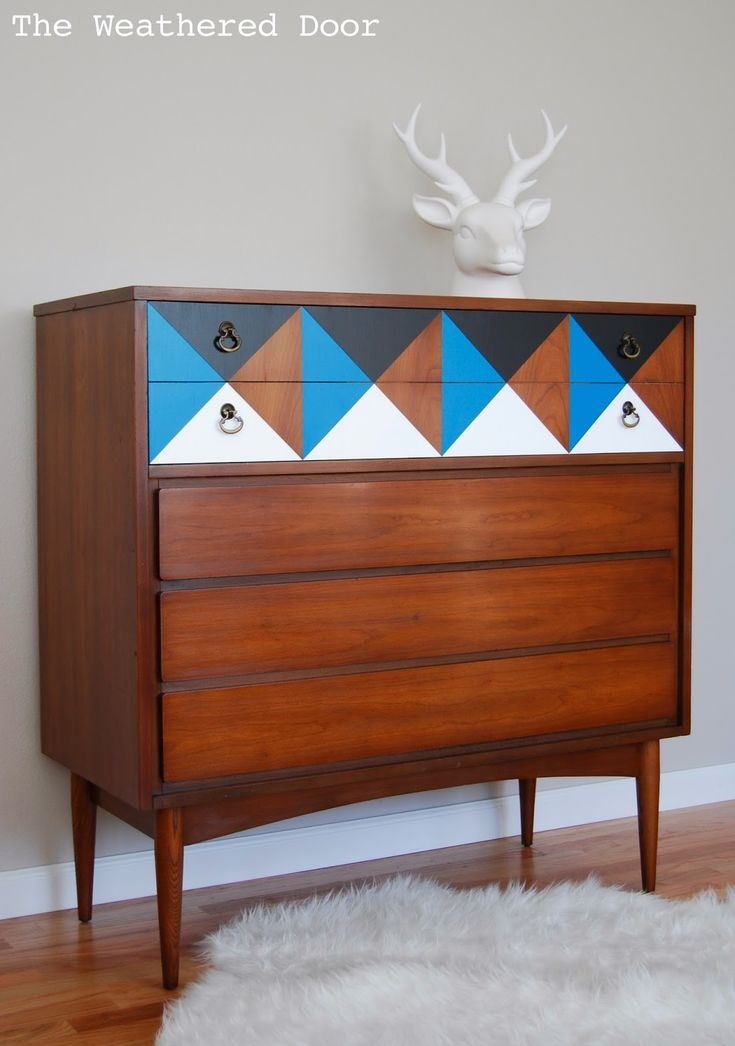 The Weathered Door: A Geometric Mid Century Dresser