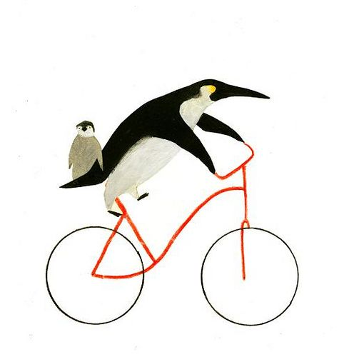 A/c @Pontofrio.com.com.com ----> Bicycles and penguins go hand and hand in this illustration by Ines Sanchez Nadal.