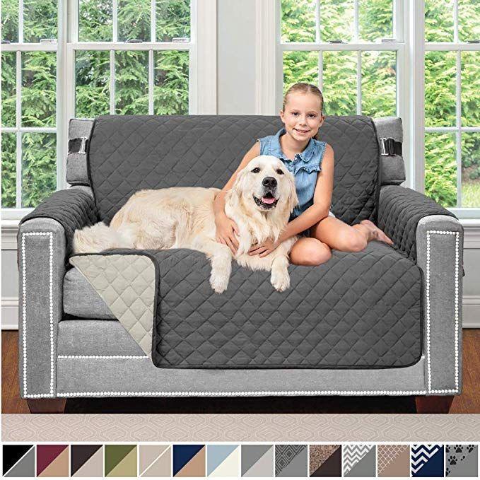 "2/"" Original Sofa Slipcovers Patent Pending Reversible Recliner Slipcover Dogs"