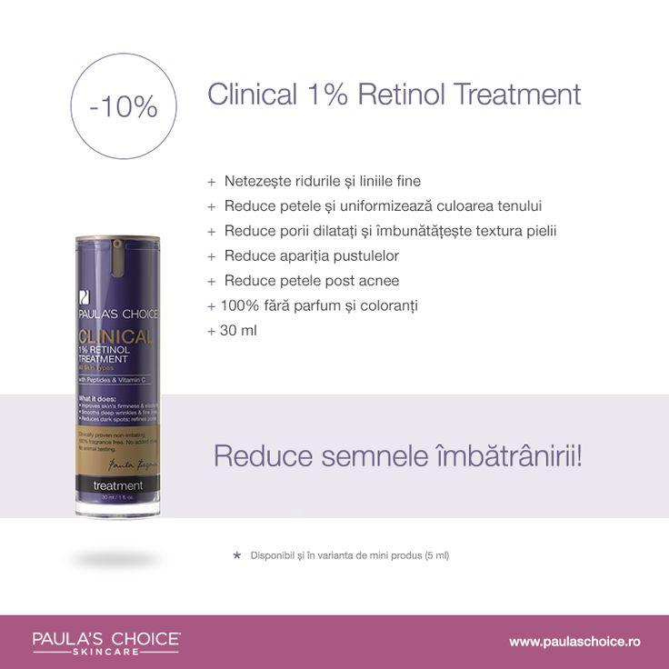 Clinical 1% Retinol Treatment are o textură lejeră, satinată, ce se absoarbe ușor în piele și acționează imediat pentru îmbunătățirea aspectului porilor dilatați, reducerea ridurilor profunde, liniilor fine și zonelor hiper pigmentate. De asemenea reduce apariția pustulelor. Licorice, oat extract și alte ingrediente anti iritante ajută la atenuarea iritației pe care anumite persoane o simt atunci când folosesc produse cu concentrații mari de retinol.