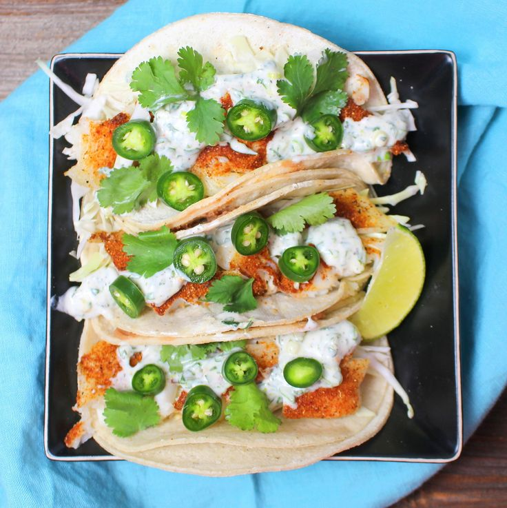 Healthy fish tacos with cilantro lime crema seafood and for Healthy fish tacos