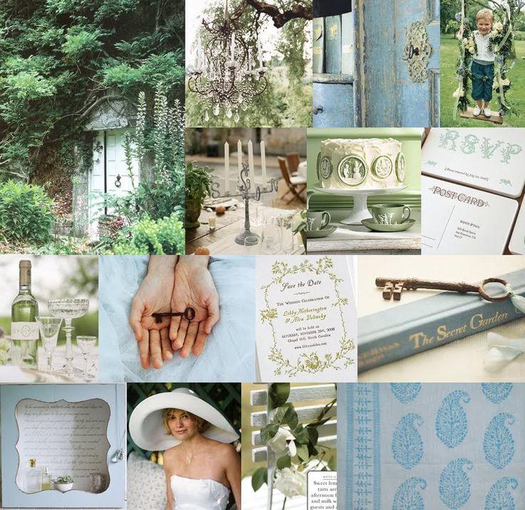 Secret garden wedding moodboard.