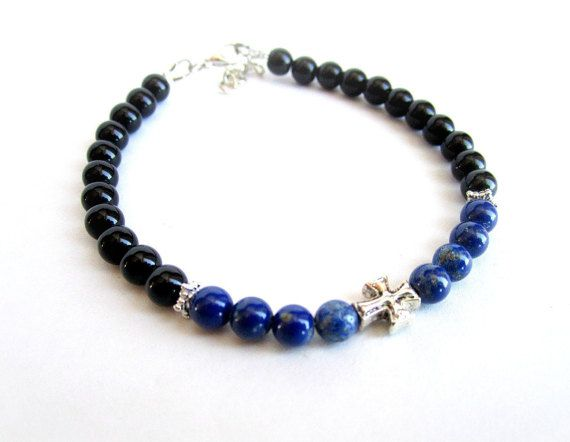 Mens cross bracelet lapis lazuli black onyx by Bravemenjewelry