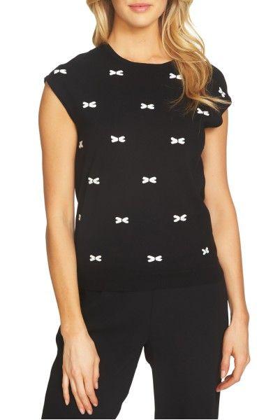 Main Image - CeCe Bows Cap Sleeve Sweater