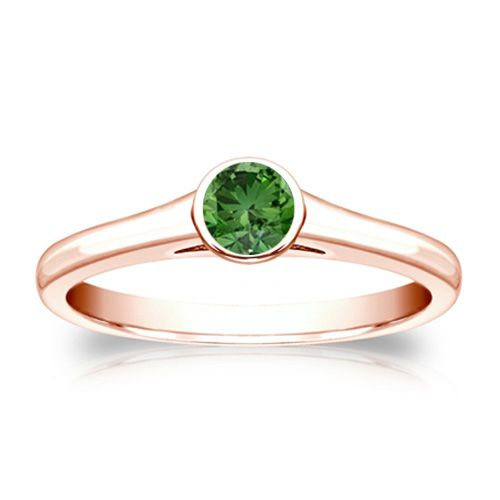 0.25 Karat grüner Solitär Diamantring 585/14K Rosegold  #diamantring #weissgold #gelbgold #rosegold #gruener_diamant #verlobung #juwelier #abt #dortmund