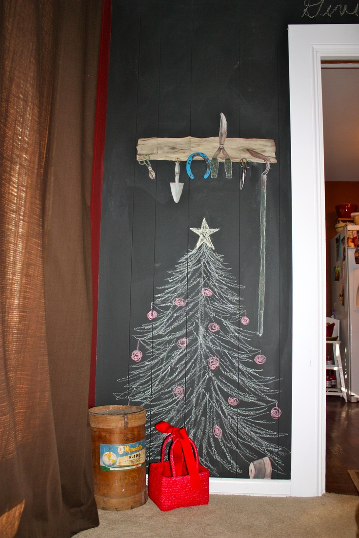 Getekende kerstboom schoolbord christmas - chalk board art - chalk wall Christmas tree
