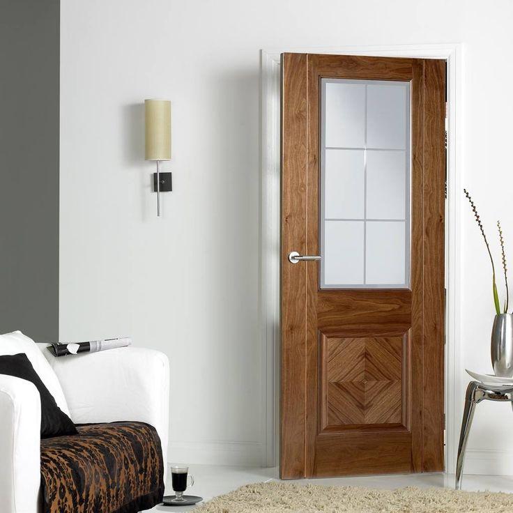 Door Set Kit, Valencia Walnut Door - Frosted Safe Glass - Clear Bevelled Edge - Prefinished. #elegantdoor #glazeddoor #internaldoor