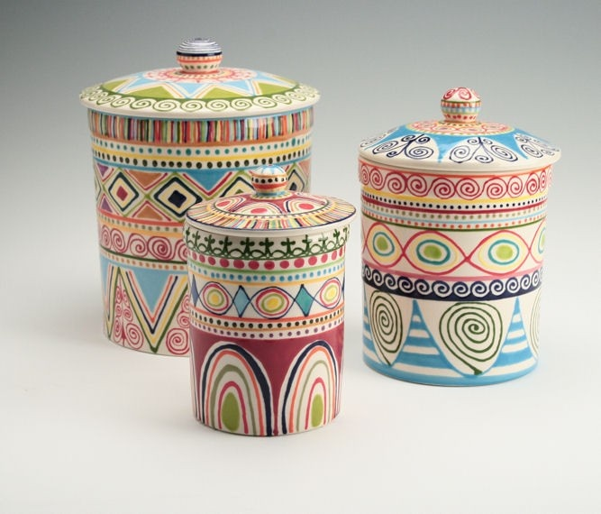 Bohemian Canister Set Multicolor with Lids Diamonds Stripes Dots Circles Hand Painted. $265.00, via Etsy.