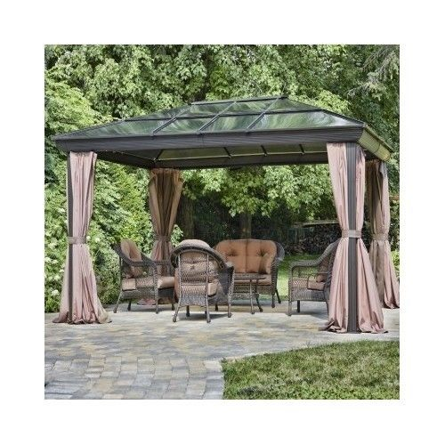 Metal Patio Gazebo Steel Aluminum Outdoor Hard Top Pergola Waterproof  Canopy Net