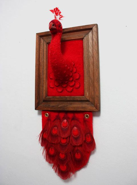 Needle-felted wool work done by Zoe Williams. So delicate and pure. I'd love to have one of these on my wall, they look soft.: Needle Felt Wool, Cool Wall Art, Zoe Williams, Cool Art, Red Peacock, Classic Colors, Wool Work, 3D Artworks, Zoë Williams