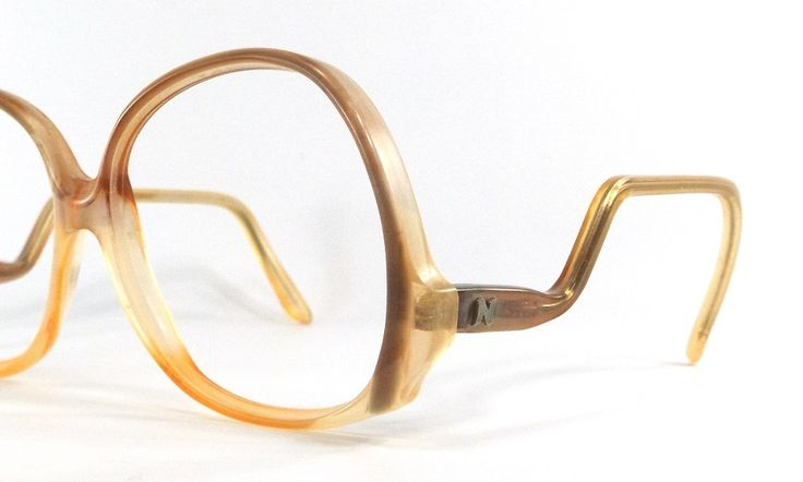 vintage 90's used round eyeglasses drop arm frames plastic oversize retro eye glasses eyewear optical translucent brown yellow…