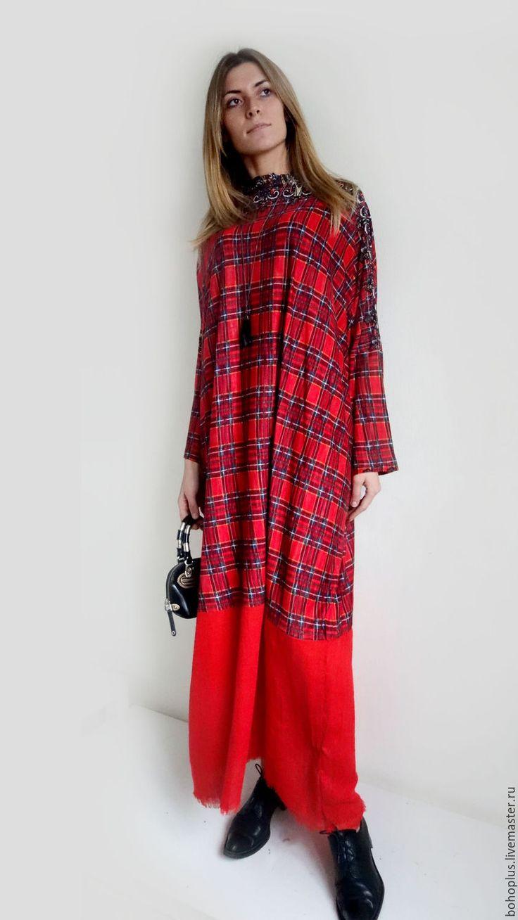 """Платье свободного кроя """"Дания"""" - ярко-красный, в клеточку, платье в пол, платье бохо"""