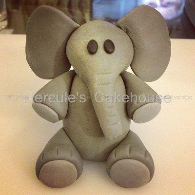 Fondant elephant cake decoration or cake topper