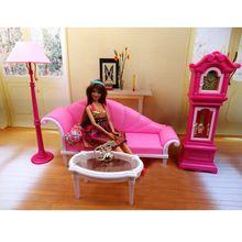 Nice Puppenhaus m bel wohnzimmer stehen standuhr f r barbie puppen miniatur kunststoff rosa moderne st ck puppe m bel
