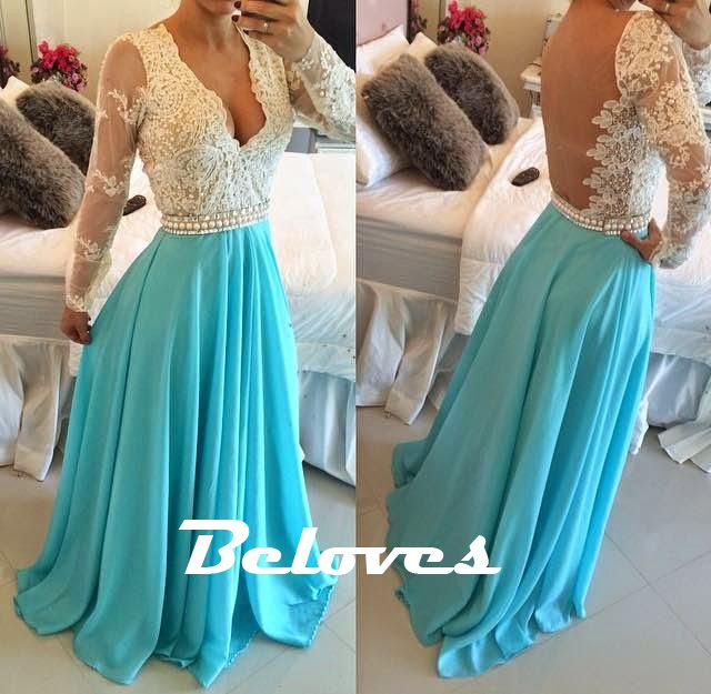 """Fabric:Chiffon  Silhouette:A+Line  Color:Turquoise+  Neckline:+V+Neck  Back+Detail:+Sheer+Back  Embellishments:Beading  Sleeves:Long+Sleeves  Custom+Made+:+We+also+accept+custom+made+size+and+color+.+Please+click+the+""""contact+us+""""and+send+your+size+and+color+to+our+email+.+Or+just+leave+a+message..."""