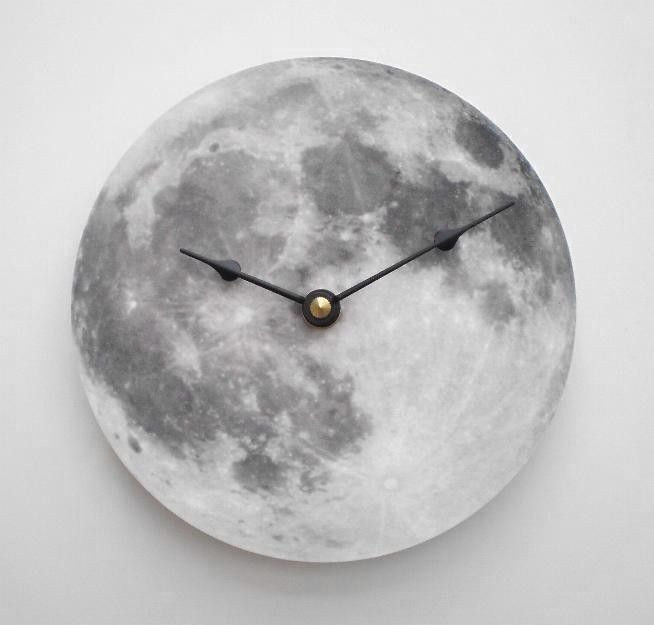 Silver Moon Clock. $17.00, via Etsy.