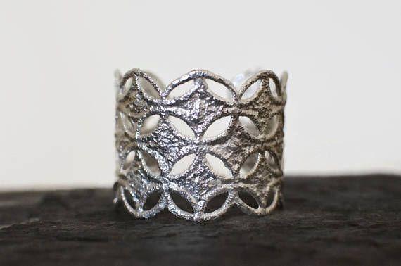 silver lace bracelet silver arm cuff wide bracelet  forearm