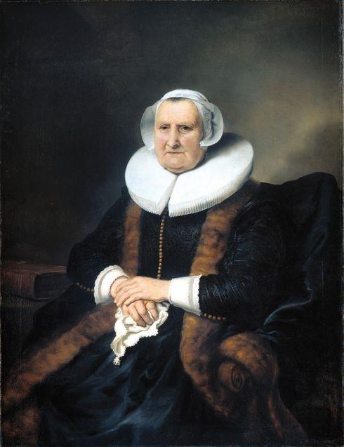 Portret van Elisabeth Jacobsdr. Bas (1571-1649), geschilderd door Ferdinand Bol, ca. 1642. Doek, 118×91.5 cm. Amsterdam, Rijksmuseum.