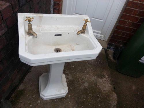 Vintage old fashioned pedestal Art Deco ceramic sink for ...