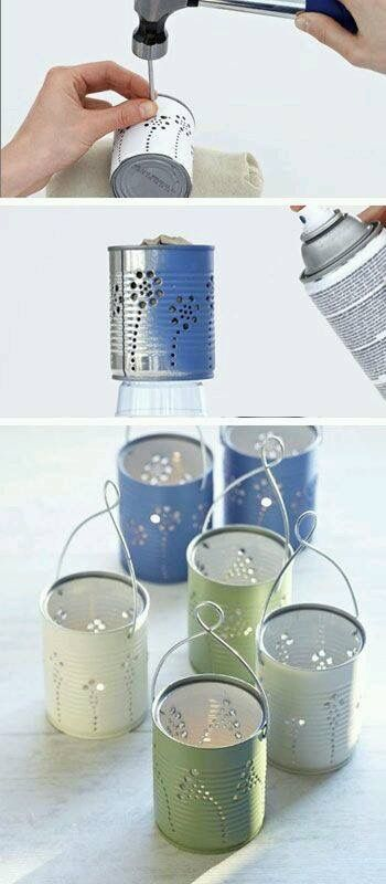 Recycled tins fairy light holders.  Seems tedious but I might actually try it...
