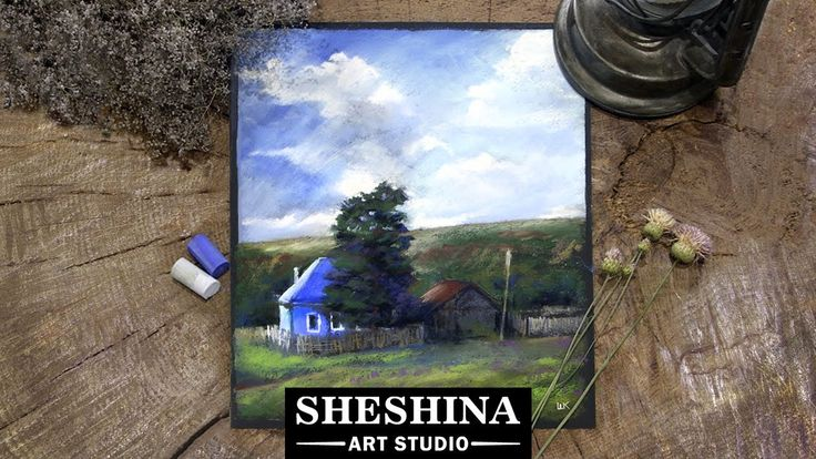How to draw a village landscape with an old house with soft pastels  Sheshina Ekaterina
