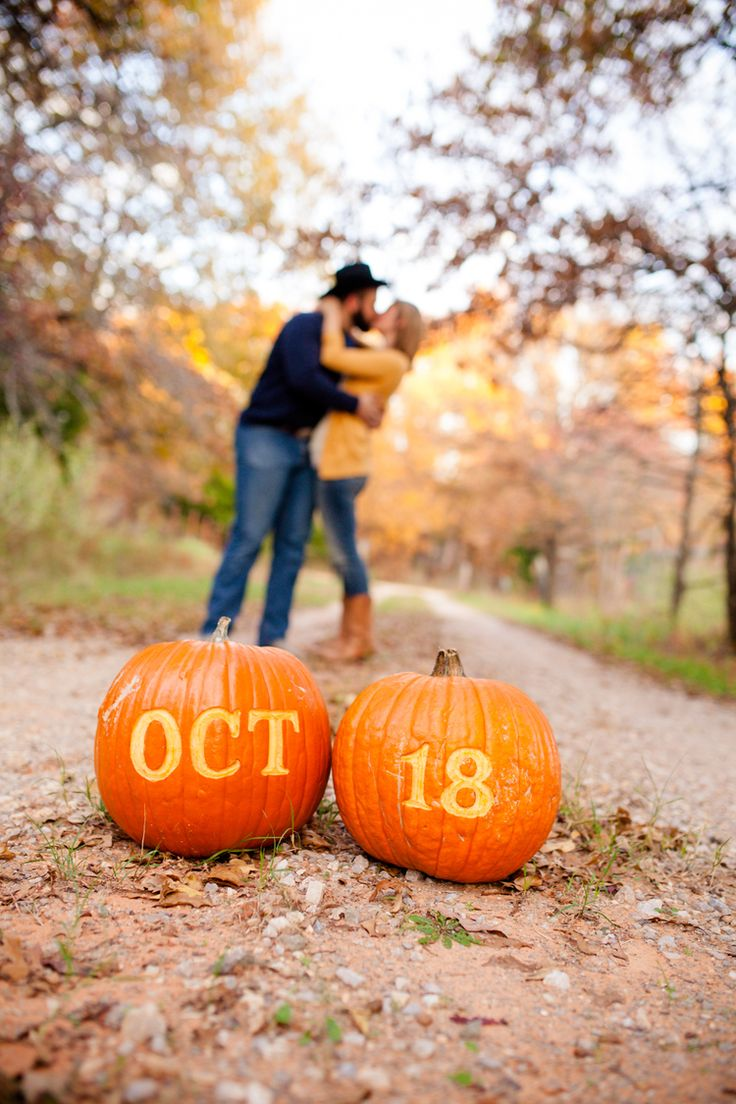 save the date idea with pumpkins  perfect for fall  Brianna Record Photography