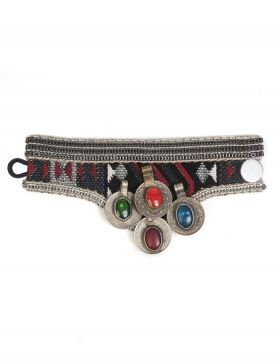 Pulsera ancha de tela azteca. Width bracelet with aztec fabric.