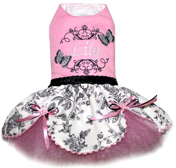Custom made personalized dog dress, monogrammed dog dresses, designer dog clothes, small dog clothing
