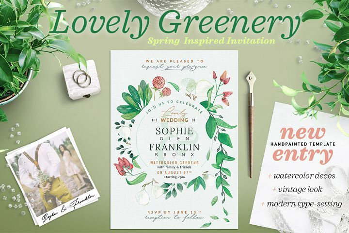 Lovely Greenery Wedding Card template from DesignBundles.net, graphic design, templates, resources, products, inspiration,
