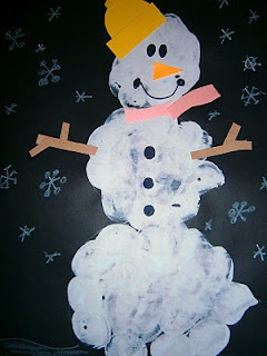 "My version of ""Snowmen at Night"" marshmallow painting"