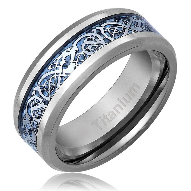 Men's Celtic Dragon Titanium Wedding Ring Engagement Band Blue 8 MM Comfort Fit by PCHJewelers on Etsy https://www.etsy.com/au/listing/246984212/mens-celtic-dragon-titanium-wedding-ring