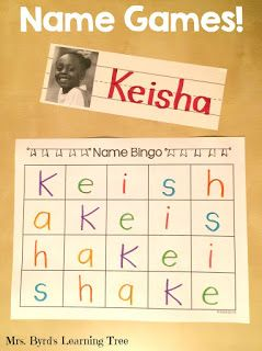 Name Games! and a FREEBIE! - Lots of ideas for using students' names for literacy learning in kindergarten and you can get this Name Bingo game for FREE. (Mrs. Byrd's Learning Tree)