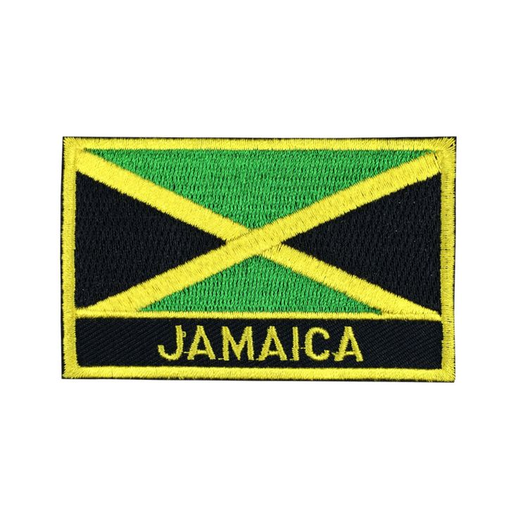 Jamaica Flag Patch Embroidered Patch Gold Border Iron On patch Sew on Patch Bag Patch meet you on www.Fleckenworld.com