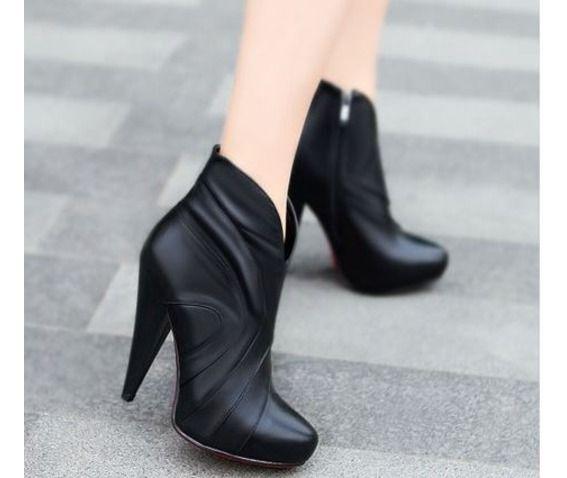 Stylish Tulip Side Zipper Thick High Heel Boots