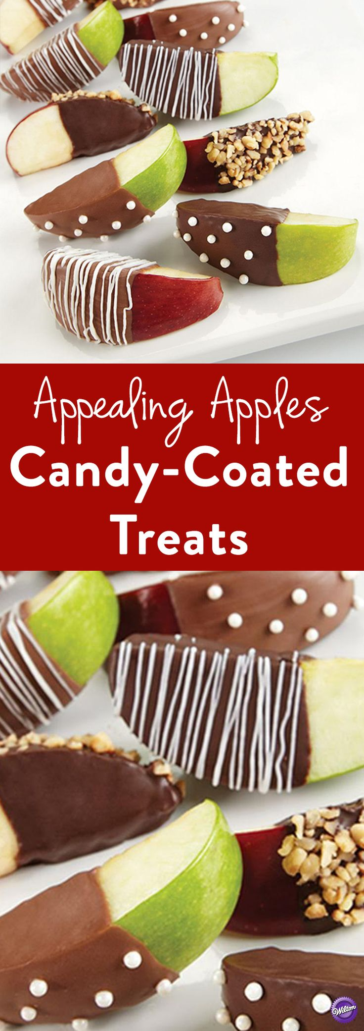 How to Make Candy-Coated Apples: Here's a tasty pairing: a sweet coating of Candy Melts candy over a tart apple slice. Serve in a variety of ways, dipped in crushed pecans, decorated with sugar pearls or drizzled with candy.