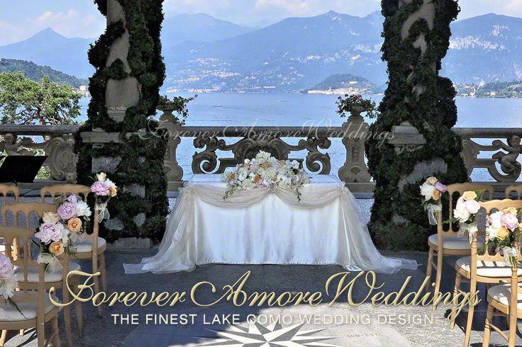 Wedding on Lake Como, Villa Balbianello. Ceremony in Loggia Durini (Arched Loggia) overlooking Bellagio. Picture by ForeverAmoreWeddings ©