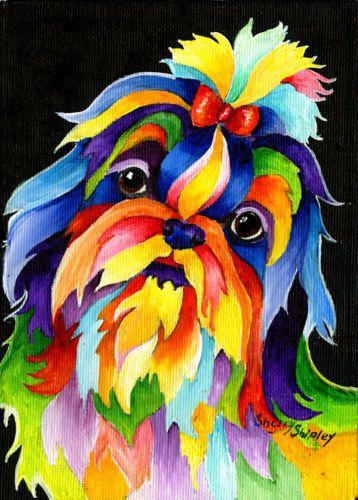 Shih-Tzu-Original-5x7-Acrylic-Framed-DOG-Painting-by-Sherry