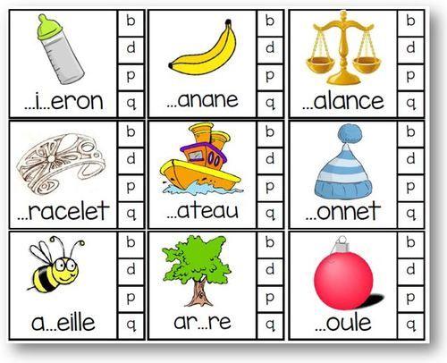 Atelier autonome : choisir entre les lettres P Q B D 81 cartes. L'enfant place une pince à linge sur son choix puis retourne la carte derrière laquelle l'enseignant aura placé une gommette sur la bonn