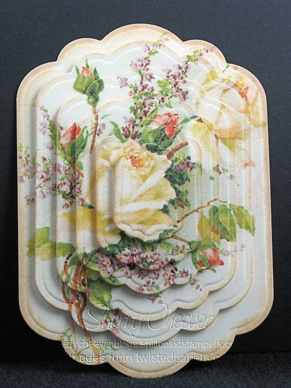 handmade card embelllishment by SherryCheever ... Spellbinders Labels11 ....pyramid of die cuts ... lots of layers will take several identical sheets of beautiful papers .... luv this romatic floral paper]!!
